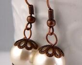 Ivory Pearl Dangle Earrings, Antique Bronze Capped Pearl Earrings, Lightweight Modern Pearl Earrings, Ivory Pearl Antique Bronze Drops (E88)