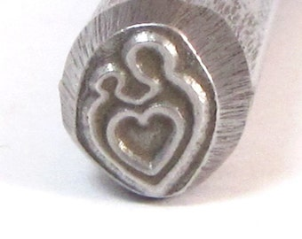 mother and child heart  3/8 design stamp 8 mm x 7 mm looks great