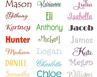 Monogram Name Vinyl Wall Decal Large for Childs Room Nursery Decor - Monogram Wall Decal - Personalize Customize