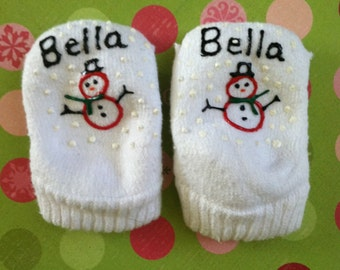 Christmas Personalized Socks Snowgirl Handmade - Baby size