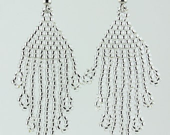 Handmade Toho Glass Seed Beads Silver-Lined Crystal Earrings