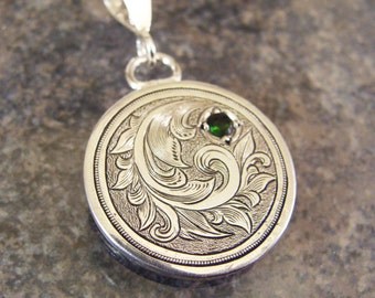 Hand Engraved Sterling Silver Necklace with Deep Green Russian Chrome Diopside