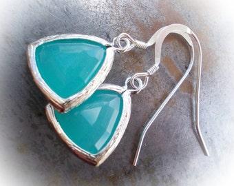 Silver Earrings dangle earrings small earrings classic minimalist earrings Blue Mint Opal glass drops seafoam dangle tiny blue sea foam