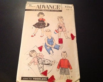 Vintage Advance #8303 Pattern for Toddlers' Size 1/2 Overalls, Sunsuit, Jacket, Short Overall, or Jumper