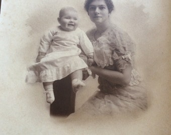 Antique Cabinet Photograph of a Woman and Child From the Early 1900's