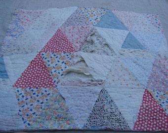 Vintage Hand Quilted Triangle Cutter Quilt Piece with Some Feedsack Fabrics