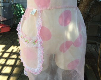 Vintage Sheer Pink Dacron Polyester Half Apron with Lace