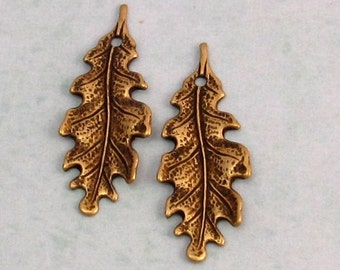 Small Oak Leaf Charm, Brass Ox, Trinity  Brass, 2 Pieces AB76