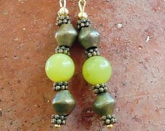 SALE, Yellow Serpentine & African Brass Earrings