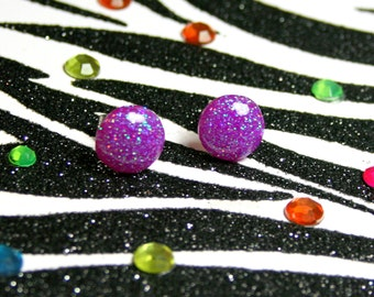 Purple Stud Earrings, Resin Jewelry, Round Fuchsia Glitter Posts
