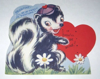 Vintage Children's Novelty Valentine Greeting Card with Skunk and Daisies NOS Unused