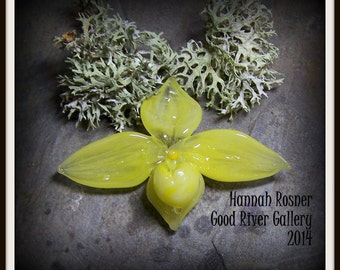 Yellow Boro Paphiopedilum or Lady Slipper Orchid Glass Lampwork Focal Bead