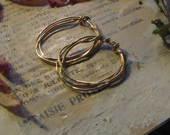 Boho Hammered Wrapped Hoops