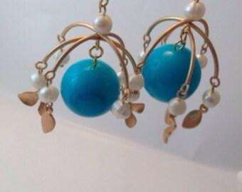 carousel bright ocean blue gold flower pearls charms delicate bead neon light cute fun minature dangle earrings