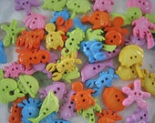 30 pcs of Novelty Button - By The Sea - Sweet Pastel Yellow Blue Lime Orange Pink