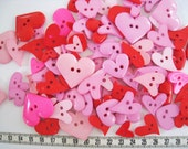30 pcs of Red Pink Purple Heart Button