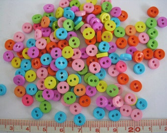 100 pcs of tiny button 6.5mm - Pink Purple Yellow Orange Blue Lime Green