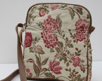 SHOULDER BAG Fabric and Leather Summer Garden
