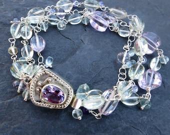 Gemstone and sterling silver bracelet - multi strand - aquamarine, amethyst - gemstone jewelry - handmade chain - fairy sprite - box clasp