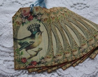 Vintage Style Bird With Crown Gift Tags Set of 8