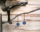 Dangle Earrings, Blue Gray Drop Earrings, Copper Enamel Jewelry, Nickel Free Kidney Earwires, Blue Grey, Handmade Earrings