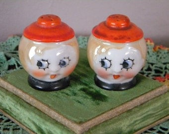 Vintage Set of 1920's Big Eyed Flapper Girl Salt and Pepper Shakers