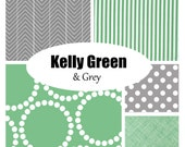 Custom Crib Bedding-Kelly Green and Grey