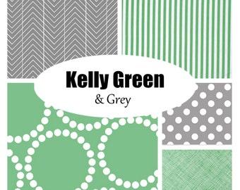 Custom Crib Bedding-Kelly Green and Grey