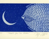 etching, Promise you the Moon, fish, cobalt blue, moon, stars, home interior, blue and white, night time, inspirational art, country style