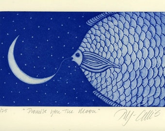 Moon art print, New moon print, fish wall art, starry night, moon and stars print, inspirational art, romantic art, blue print, fish print