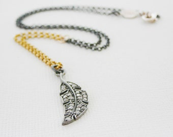 "Diamond Pendant Necklace, Feather Oxidized Sterling Silver 18"" 14kt Gold Filled, Genuine Diamonds, Pave Antiqued"