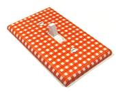 Orange Gingham Light Switch Cover Switch Plate Boys Nursery Decor
