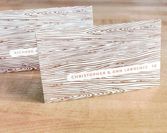 Place cards with wood grain, faux bois escort cards, wedding stationery,  signage, tags, SET OF 50 tented cards with names printed