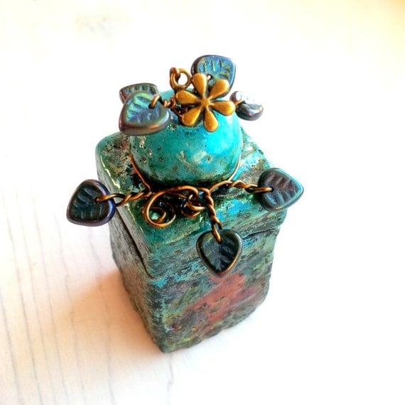 Jewelry Or Ring Box Raku Ceramic And Pottery Lidded Box