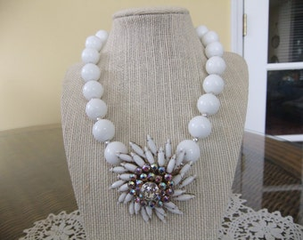 White Beaded Necklace with Vintage Aurora Borelis Starburst Brooch as Focal Point
