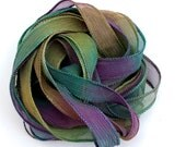 SowZerE SRA - Arabian Nights   - Two Pure silk hand made and  dyed crinkle chiffon ribbons  for jewelry and craft -