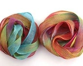 SowZerE -  NEW - Carnival - handmade hand dyed silk chiffon ribbons  for jewellery and craft.