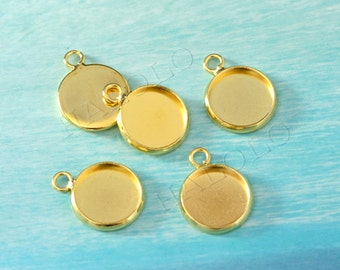 10 pcs golden tone round base - for 12mm round cabochon. BN392G