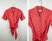 1950s Red Bandana Print Wrap Blouse
