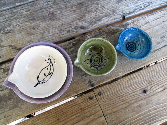You design custom ceramic pottery measuring cups baking cooking prep bowls set of 4 custom pottery chef cooking anniversary home gift rustic