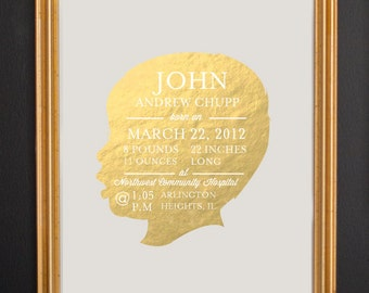 Nursery Gold Foil Print - Birth Announcement Wall Art - Custom Silhouette - Real Foil - Baby Stats - 8x10 by Le Papier Studio