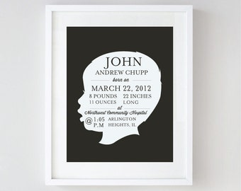 Birth Announcement Print - Personalized Birth Stats Art - Nursery Wall Art Print - Custom Boy or Girl Silhouette Print - Typography