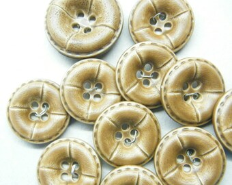 Vintage Buttons, plastic buttons, brown buttons, faux leather, set of 11