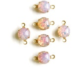 Vintage Fire Opal Glass Stone 2 Loop Brass Setting Drops 8.5mm (6) rnd009G2