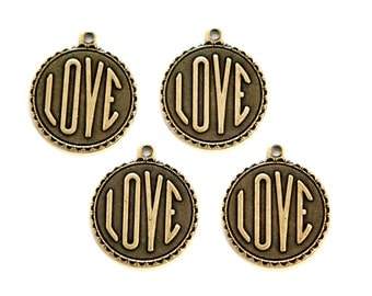Brass Ox LOVE Word Charm Drop with Loop (4) chr194AA