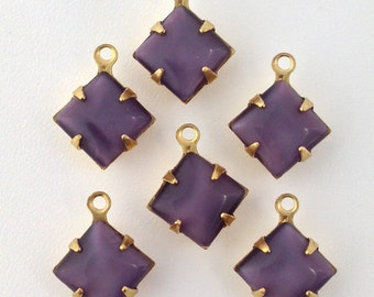 Purple Moonstone Square Glass Stones in 1 Loop Brass Setting 8mm (6) squ002AB