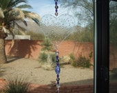 Suncatcher Heart Bubble Iridescent Glass with Chandelier Drop
