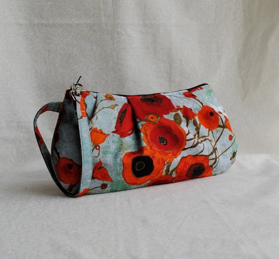 Pleated Wristlet Zipper Pouch // Clutch - Large Poppies in Teal