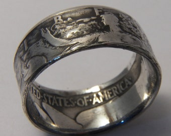 Silver coin ring year 1943 Walking Liberty  you pick size 9 to 14 great coin collector gift