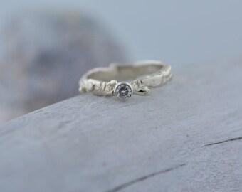 14k White Gold Moissanite Branch Ring | Stacking Ring | Nature Inspired Ring